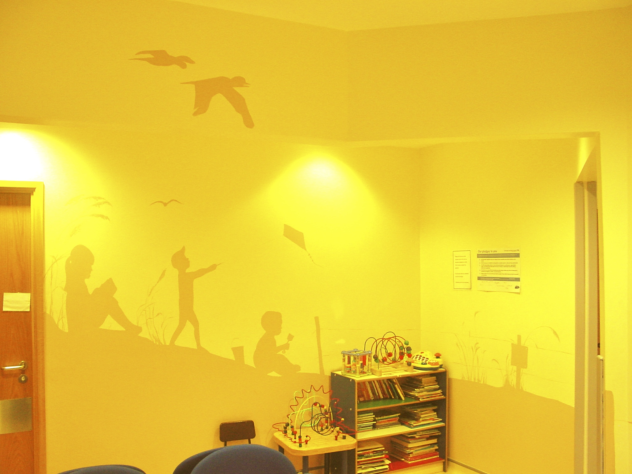 Children's A&E waiting room painted mural